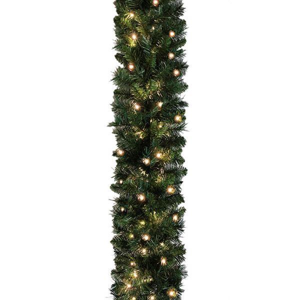 Extra Long Pre Lit Plain Fir Christmas Garland