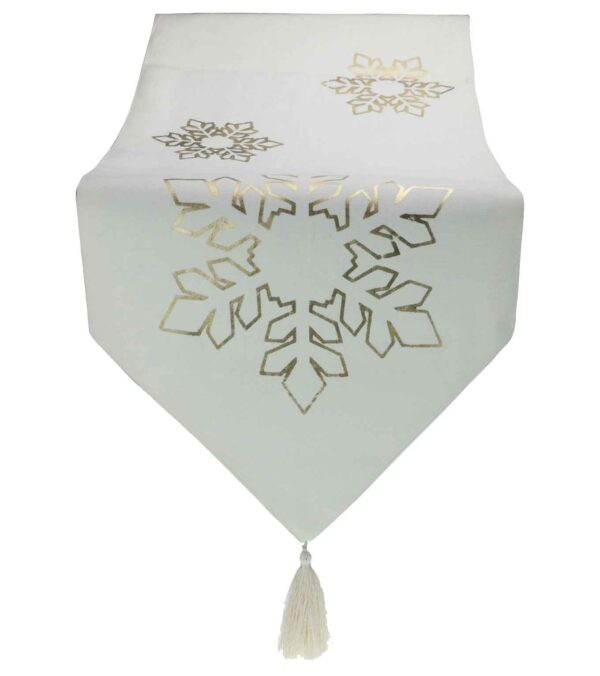 Snowflake White Table Runner