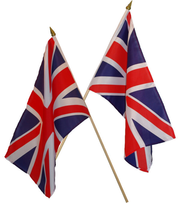 UNION JACK HAND FLAG WOODEN POLE Multi 45CM X 30CM