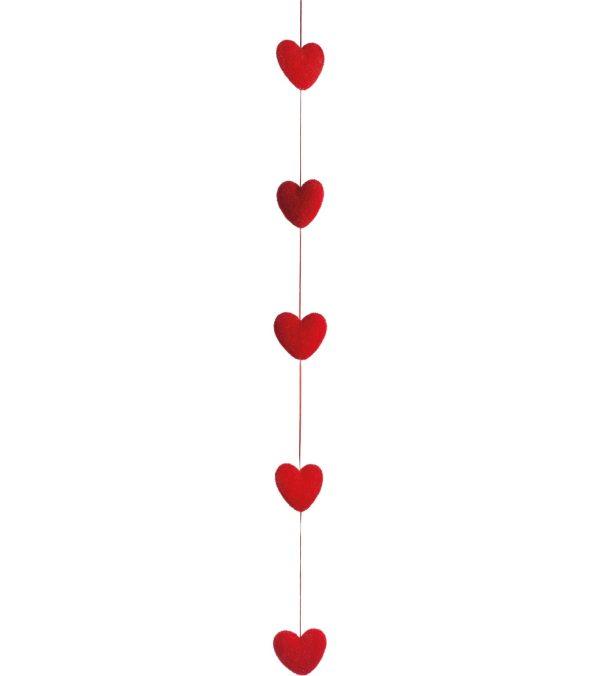 FLOCKED HEART GARLAND - 150cm long x 10cm wide