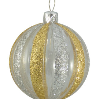 Clear Ribbed Glitter Baubles