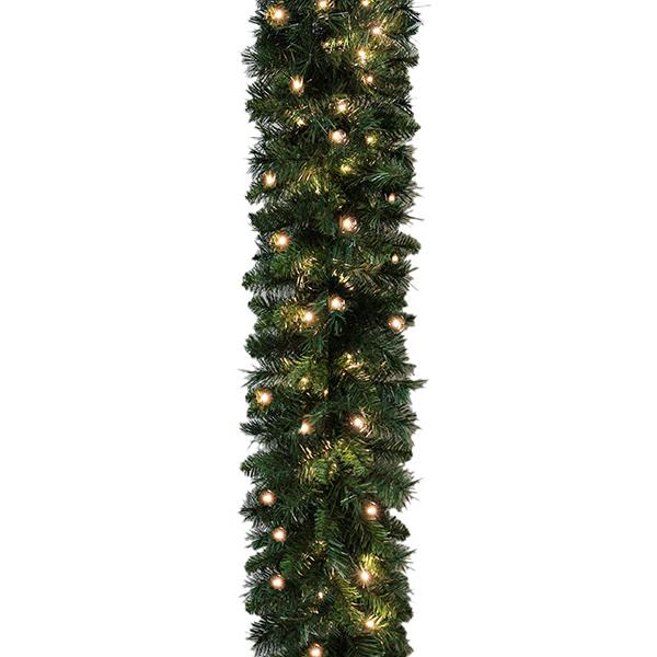 Plain Pre Lit Spruce Christmas Garland