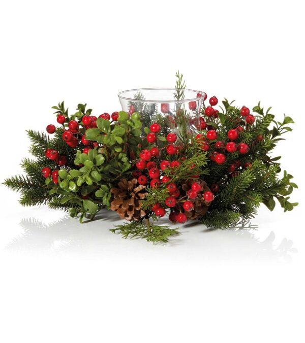 berry and pine centrepiece