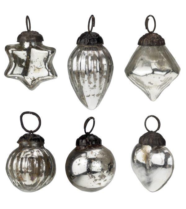 mini silver glass bauble set