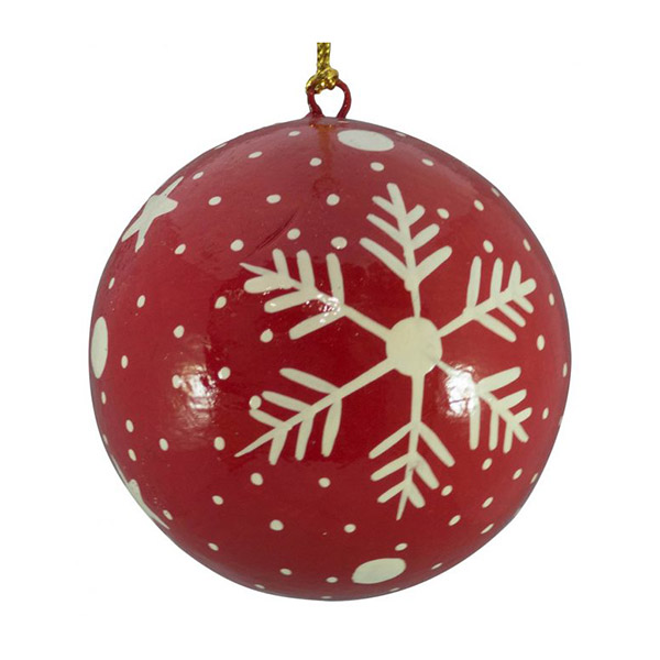 red and white snowflake bauble