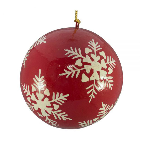red and white snowflakes bauble