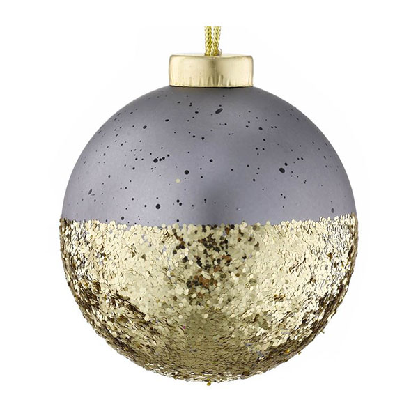 urban glamour concrete and gold glitter bauble