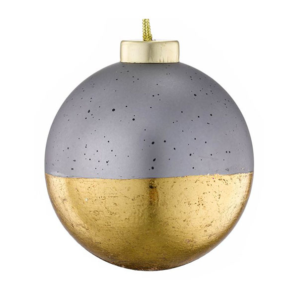 urban glamour concrete and gold leaf bauble