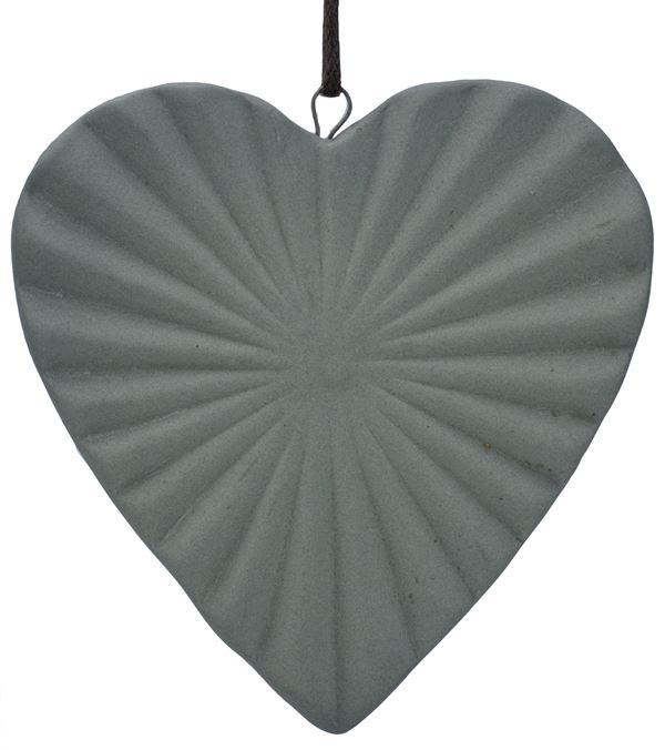 Ceramic Ridged Heart - 88mm - Grey - Pack of 12