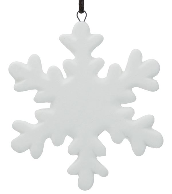 Ceramic Snowflake Decoration - 80mm - White - Pack of 12