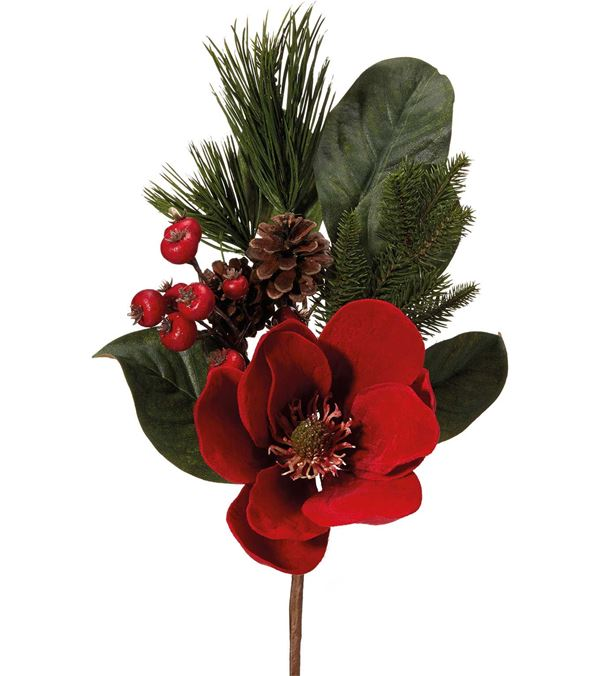 Red Magnolia Spray - 43cm - Red - Sold Individually