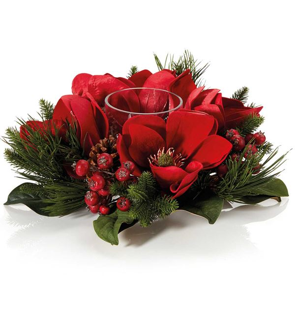 Red Magnolia Centrepiece - 40cm - Red - Sold Individually