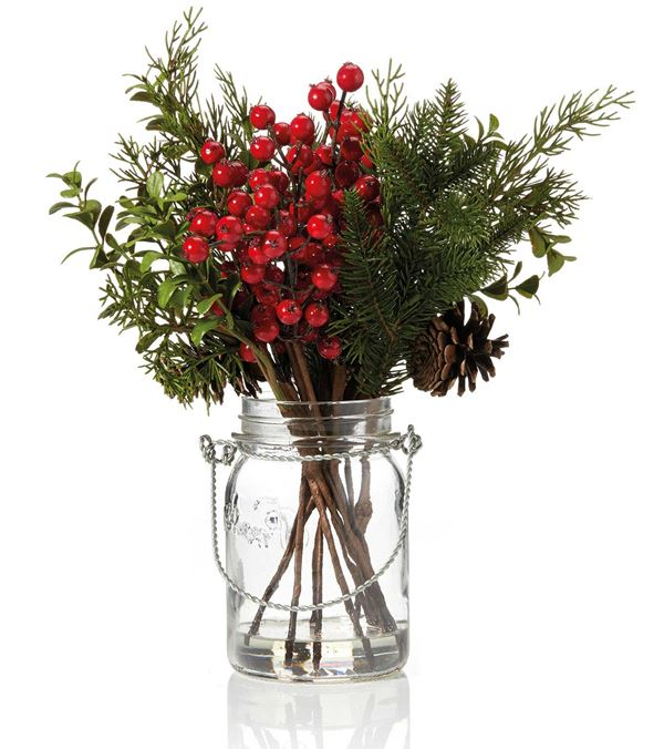 Berry & Pine Jar - 33cm - Red - Sold Individually