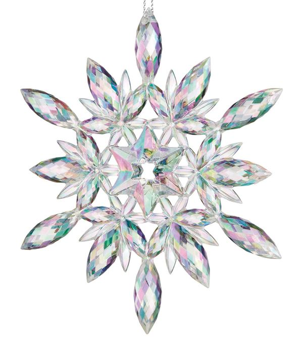 Iridescent Clear Snowflake - 120mm - Iridescent - Pack of 6