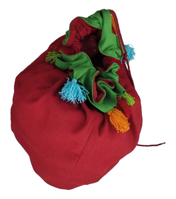 Giant Red Felt Christmas Sack with Tassels - 70cm x 40cm - Red - Per 1