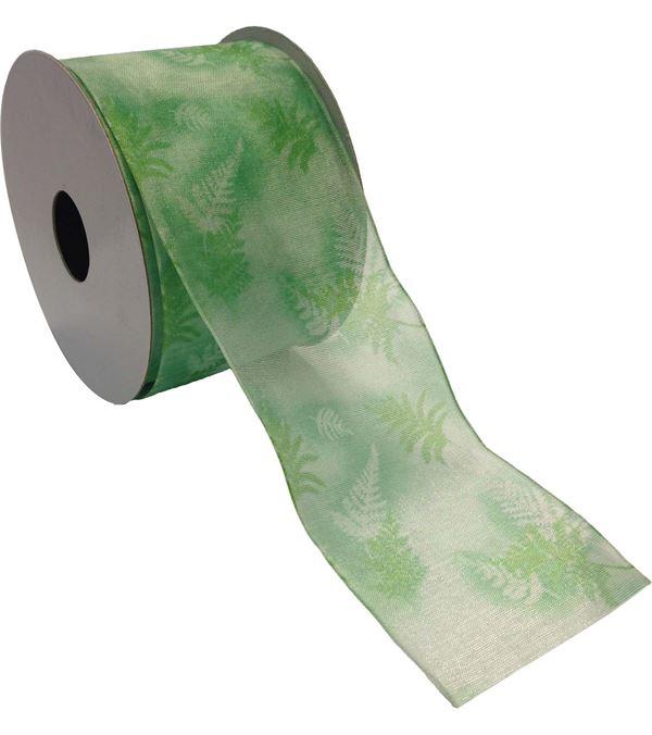 Sheer Fern Ribbon - 63mm Wide on 10m Roll - Green - Single Roll