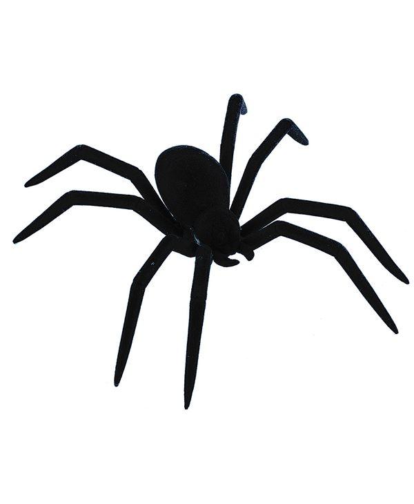 Flocked Spider - 20cm - Black - Pack of 3