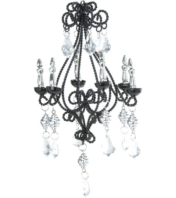 Jewelled Wire Chandelier - 16cm X 10cm - Black - Pack of 2