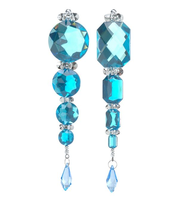 Jewel and Sequin Drop Turquoise 16 x 3cm - 16cm x 3cm - Pack of 6 - Blue
