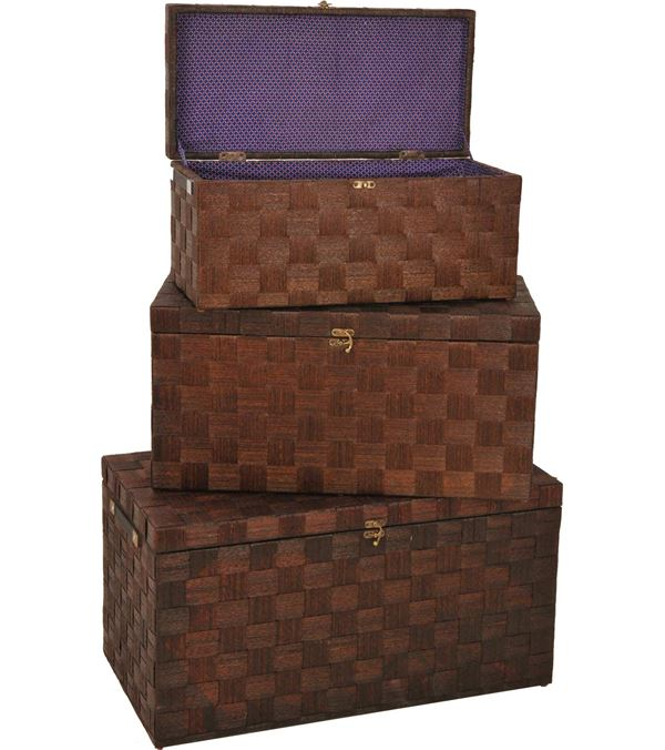 Flat Top Chest Set - A Set of 3 As Listed - Brown