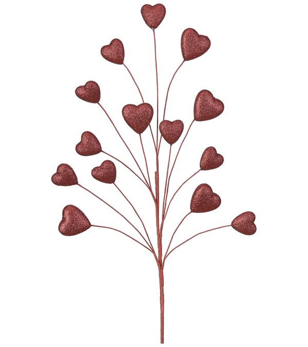 Glittered Heart Spray - 80cm Tall - Red - Pack of 3