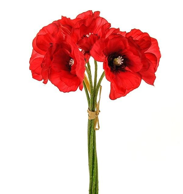 Poppy Bunch - Red - 6 Heads - 29cm - Pack of 2