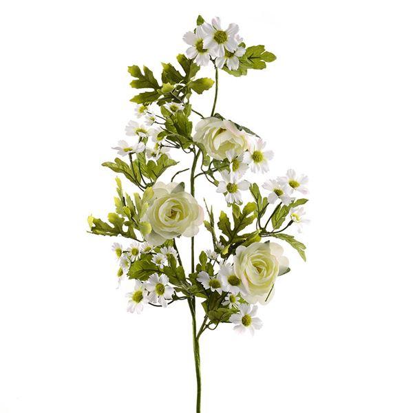 Rose and Daisy Spray - Cream - 70cm - Pack of 1