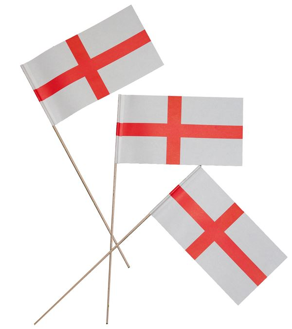England Flags - 22cm X 12cm - Pack of 20 - Red and White