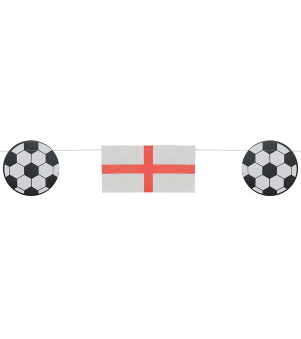 England Flag & Football Bunting - 10m Long - Red and White - Sold Individually