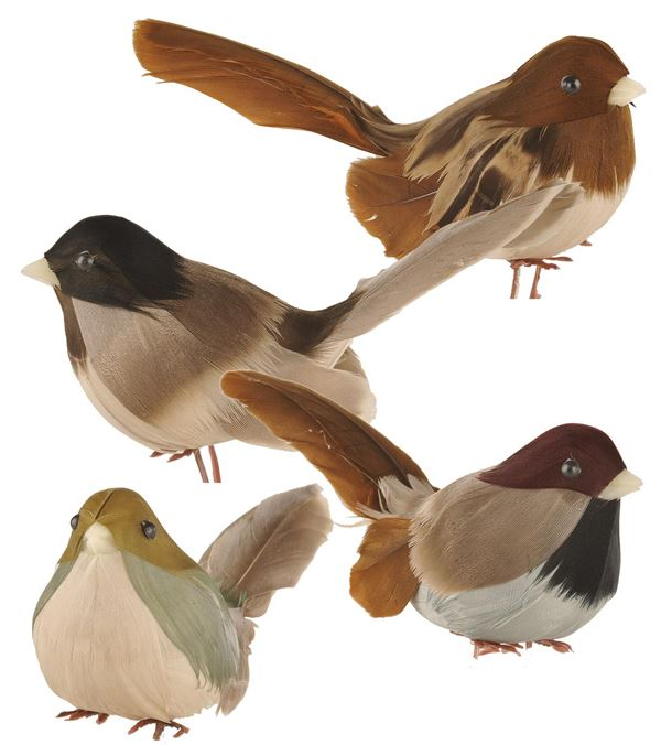 Woodland Birds Assorted - 9cm X 6cm - Brown - Pack of 12