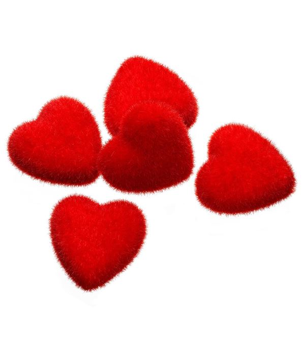 Flocked Hearts - 6cm Wide - In a Pack of 40 - Red