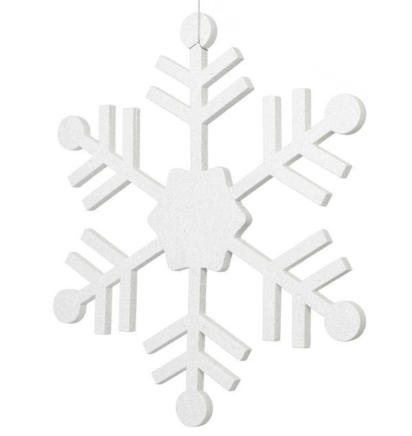 Glittered Papier-Mache Snowflake - 66cm - White - Sold Individually