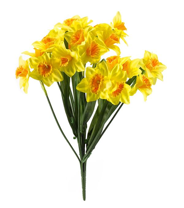 Daffodil Bunch With Leaves - 48cm - Yellow - Sold Individually