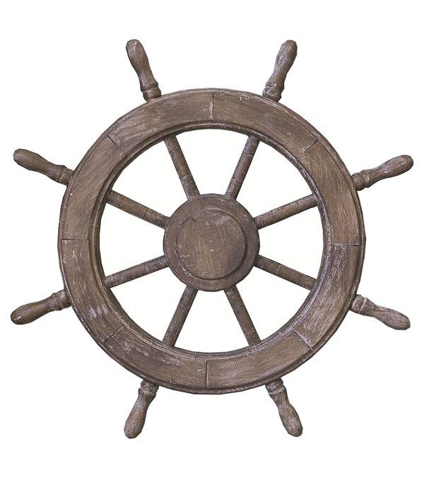 Wooden Ships Wheel - 62cm Diameter - Multicolour