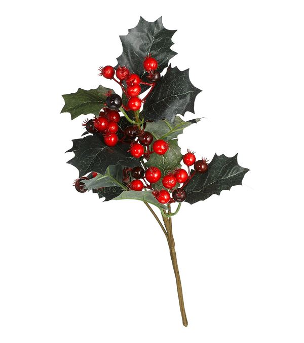 Holly & Berry Sprig - 36cm Long - Pack of 3 - Green (16194)