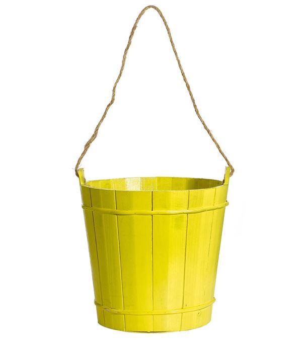 Wooden Bucket Yellow 30cm X 30cm - 30cm X 30cm - Yellow
