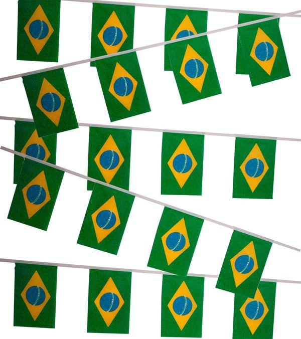 Brazil Flag Bunting Multi 6m - 6m - Multicolour - Sold Individually