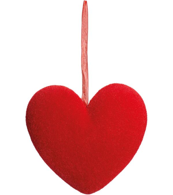 Flocked Heart - 31cm Wide - Red - Per 1