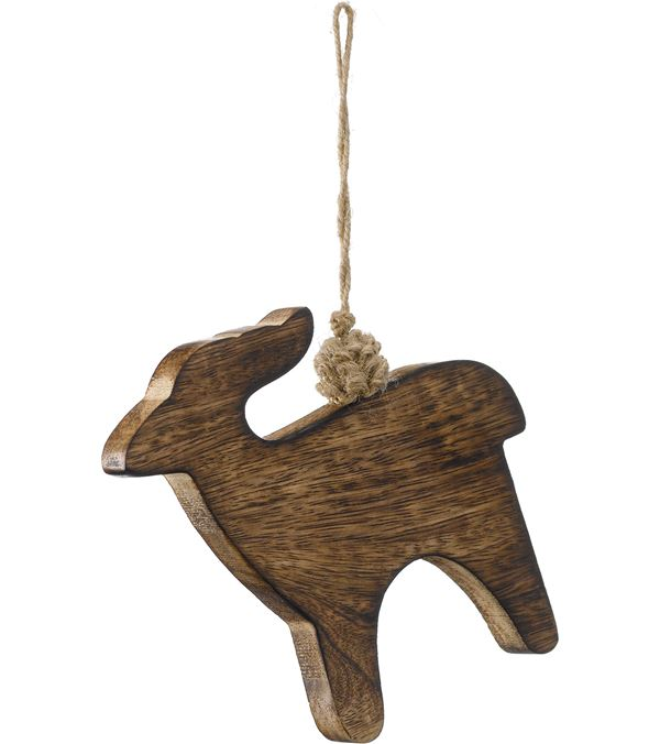 Wooden Deer - 11cm High x 13cm Wide - Pack of 3 - Natural (16085)