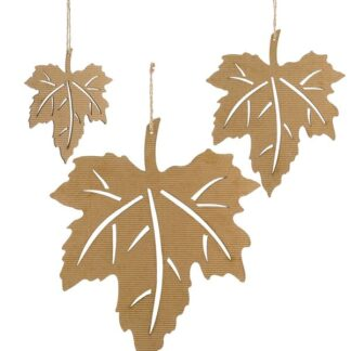 Corrugated Maple Leaves - Set of 3 - Brown