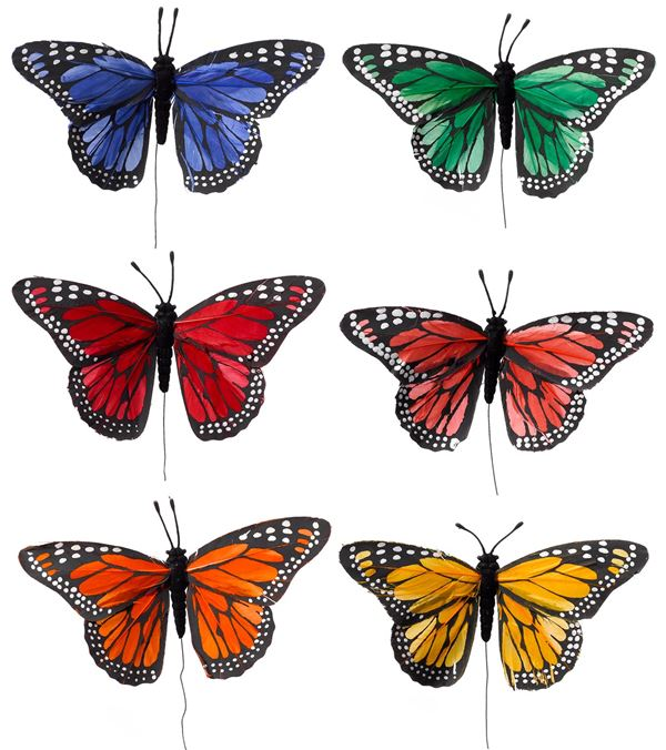 Large Feather Butterfly Picks - 15cm Wide - Per 6 - Multicolour