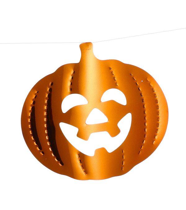 Pumpkin Foil Bunting - 200cm - Orange - Pack of 3
