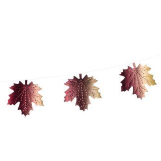 Maple Leaf Tonal Foil Bunting - 200cm - Multicolour - Pack of 3