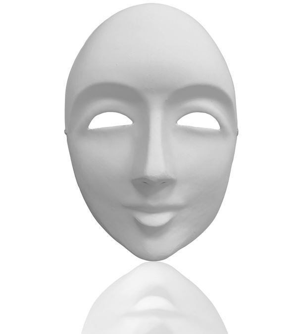 Blank Face Mask - 23cm Tall - White