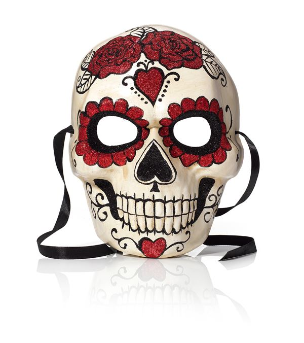 Glittered Skull Mask - 24cm - Red - Sold Individually