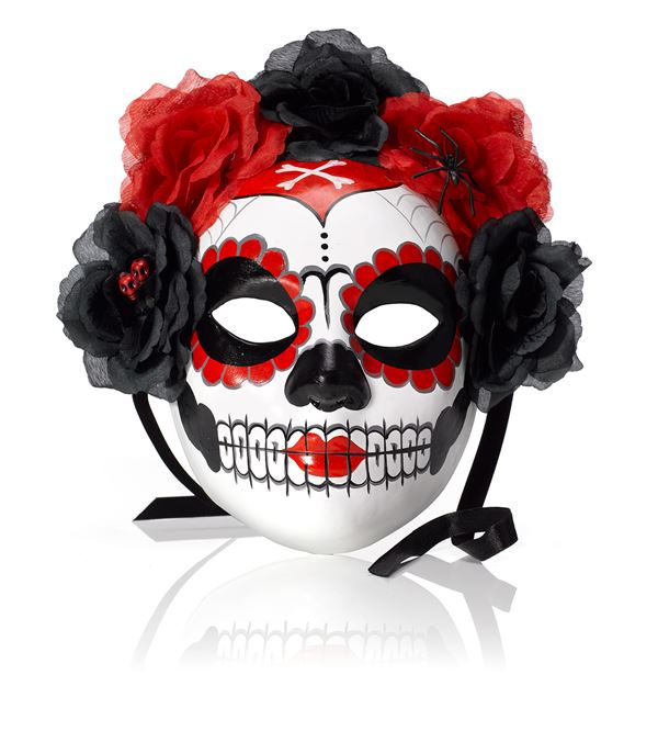 Painted Skull Mask - 27cm - Red - Sold Individually