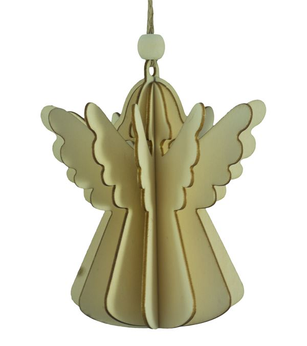 Wooden Angel Decoration - Natural - 110mm x 100mm - Natural (16160NT)