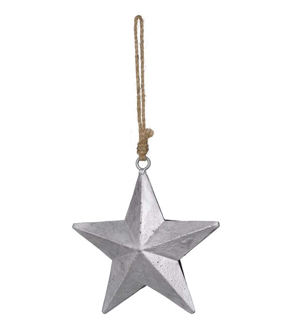Metal Stars on Rope - Silver - 14cm Wide - Per 3 - Silver