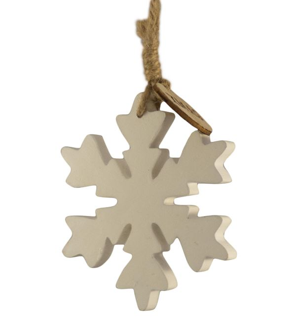 Wooden Snowflake Hanger - Small - 95mm x 100mm - White (16272) - Pack of 3