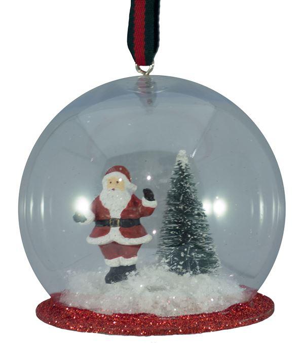 Santa Hanging Snow Globe - 73mm Wide - Per 2 - Clear (16305)
